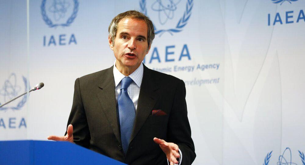 Diretor-geral da Agência Internacional de Energia Atômica, Rafael Mariano Grossi, fala durante coletiva de imprensa