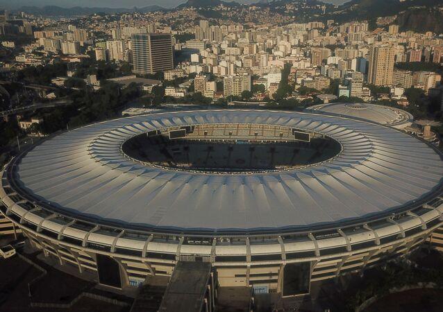 Vista para o Estádio de Maracanã, no Rio de Janeiro, flagrada a partir de drone, 2 de junho de 2021
