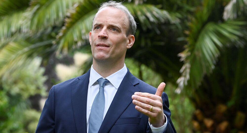 Dominic Raab, ministro das Relações Exteriores do Reino Unido, em entrevista à agência britânica, à margem da cúpula do G7, em Carbis Bay, Cornualha, Reino Unido, 11 de junho de 2021
