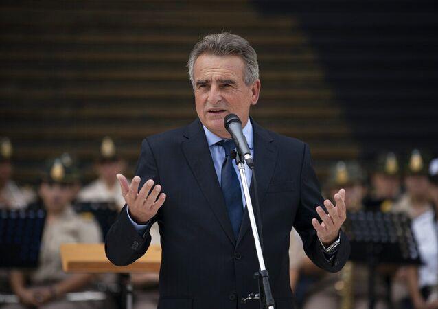 Ministro da Defesa argentino, Agustín Rossi, fala durante evento em Buenos Aires, Argentina. Foto de arquivo