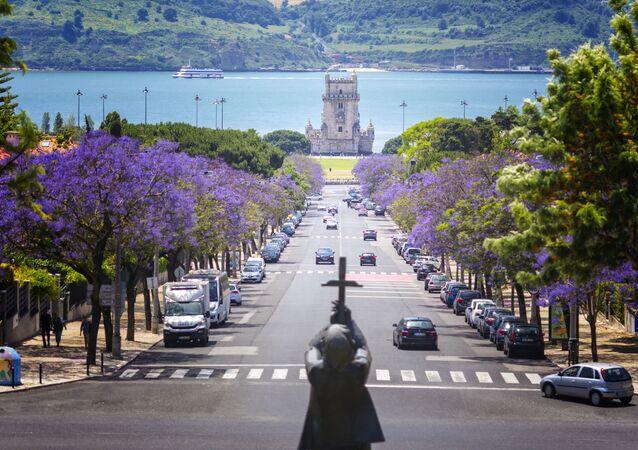 A famosa torre de Belém e os jacarandás emoldurando a paisagem lisboeta