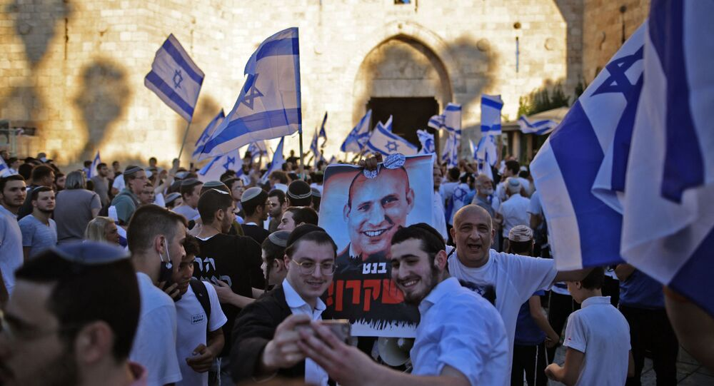 Israelenses durante Marcha de Bandeiras em 15 de junho de 2021