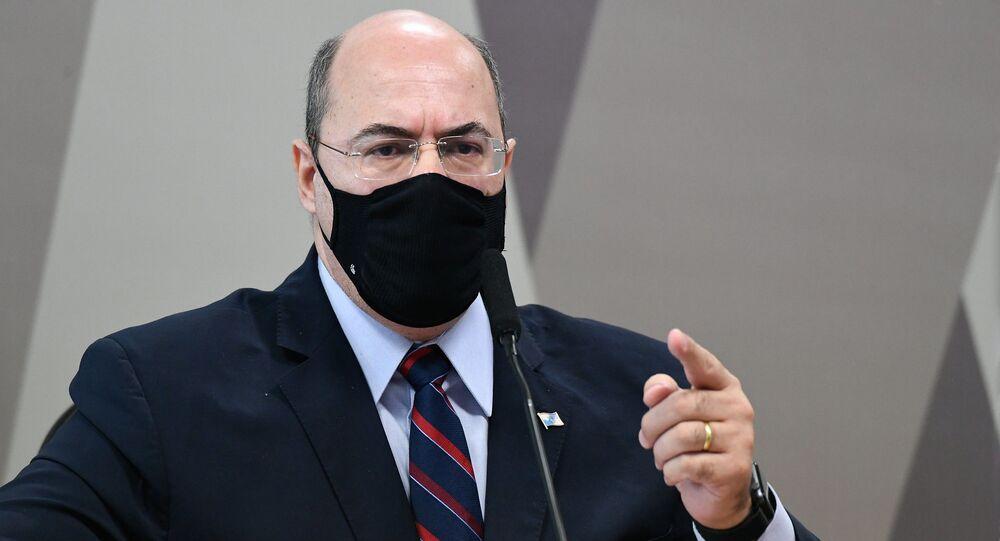 Ex-governador do Rio de Janeiro, Wilson Witzel, durante depoimento à CPI da Covid, 16 de junho de 2021