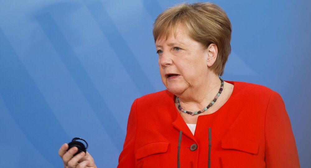 Angela Merkel, chanceler da Alemanha, durante entrevista coletiva em Berlim, Alemanha, 18 de junho de 2021