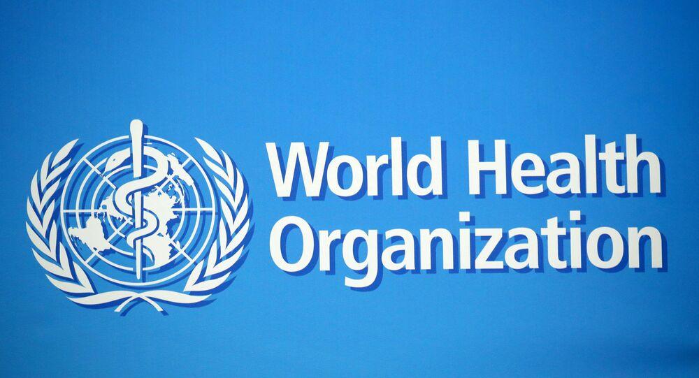 Logotipo da Organização Mundial da Saúde (OMS) em Genebra, Suíça, 2 de fevereiro de 2020