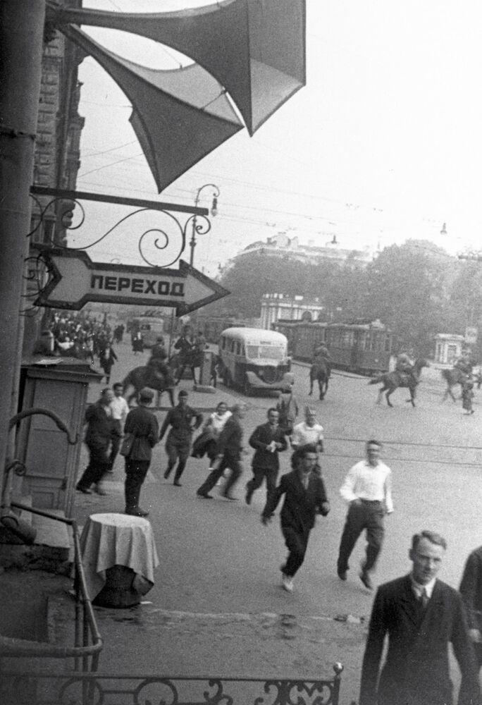 Sirene de defesa civil em Leningrado durante os primeiros dias da guerra
