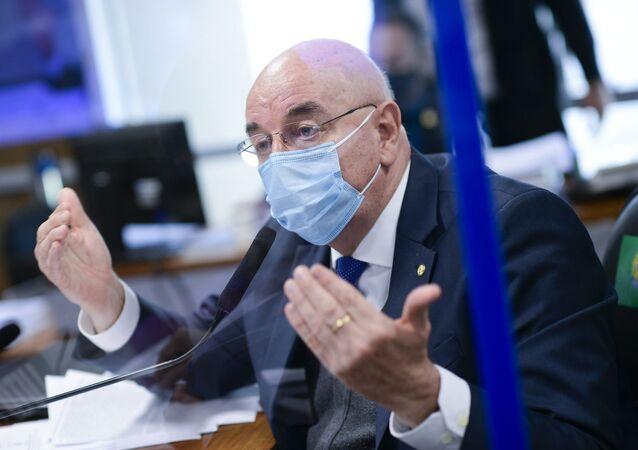 Deputado Osmar Terra durante depoimento para CPI da Covid, Brasília, 22 de junho de 2021