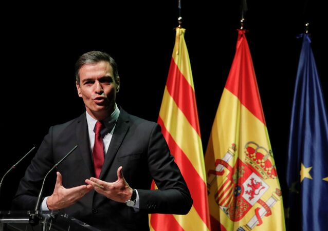 Presidente do governo espanhol, Pedro Sánchez, explica seu plano de conceder indultos aos líderes independentistas da Catalunha, Barcelona, Espanha, 21 de junho de 2021