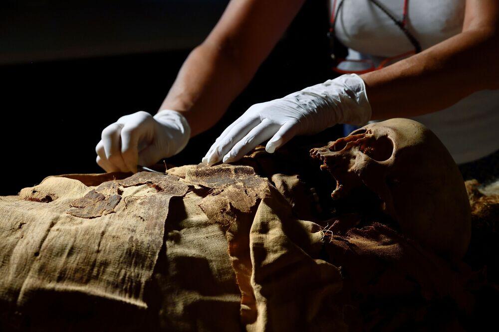 Mãos de um pesquisador enquanto se prepara para mover a múmia egípcia de Bergamo para Milão, Bergamo, Itália, 21 de junho de 2021