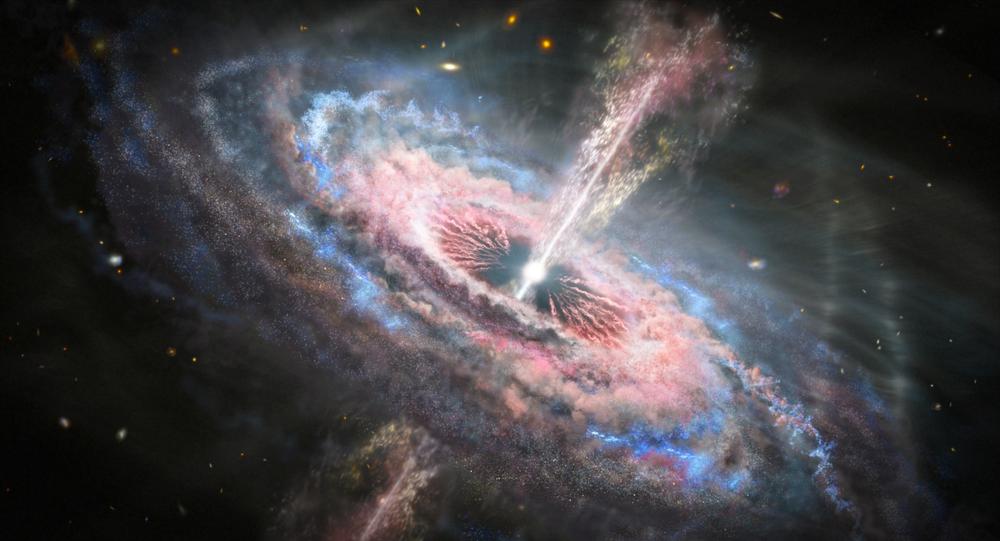 Representação artística d uma galáxia com um quasar brilhante em seu centro