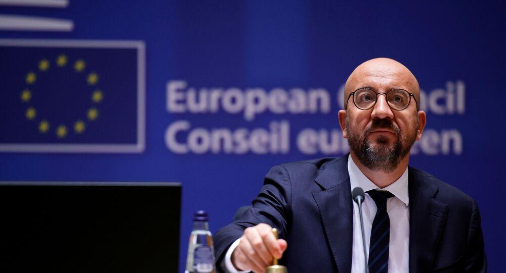 O presidente do Conselho Europeu, Charles Michel, anuncia o início da reunião durante uma cúpula da UE em Bruxelas, Bélgica, em 24 de junho de 2021