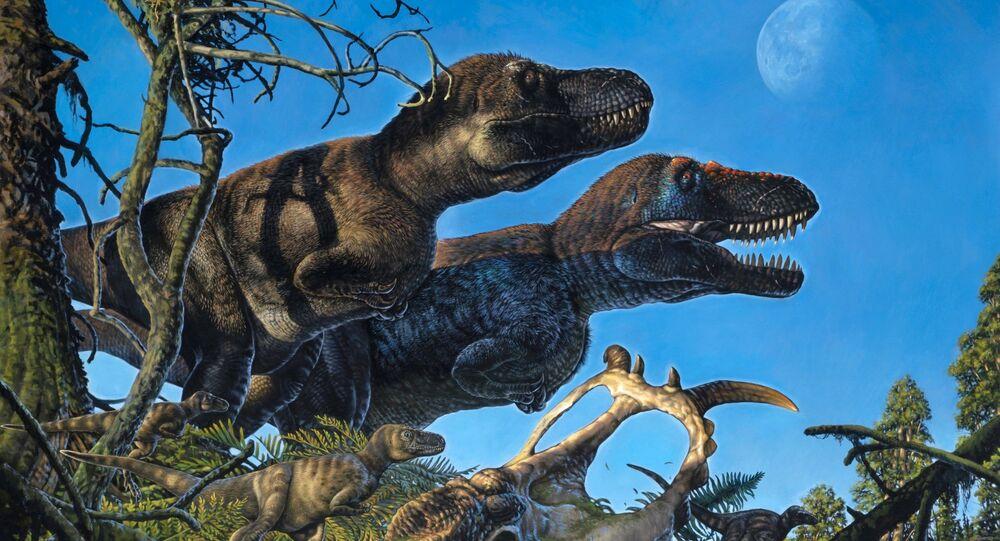 Par de tiranossauros adultos e seus jovens vivendo no Ártico durante o período Cretáceo (imagem ilustrativa)