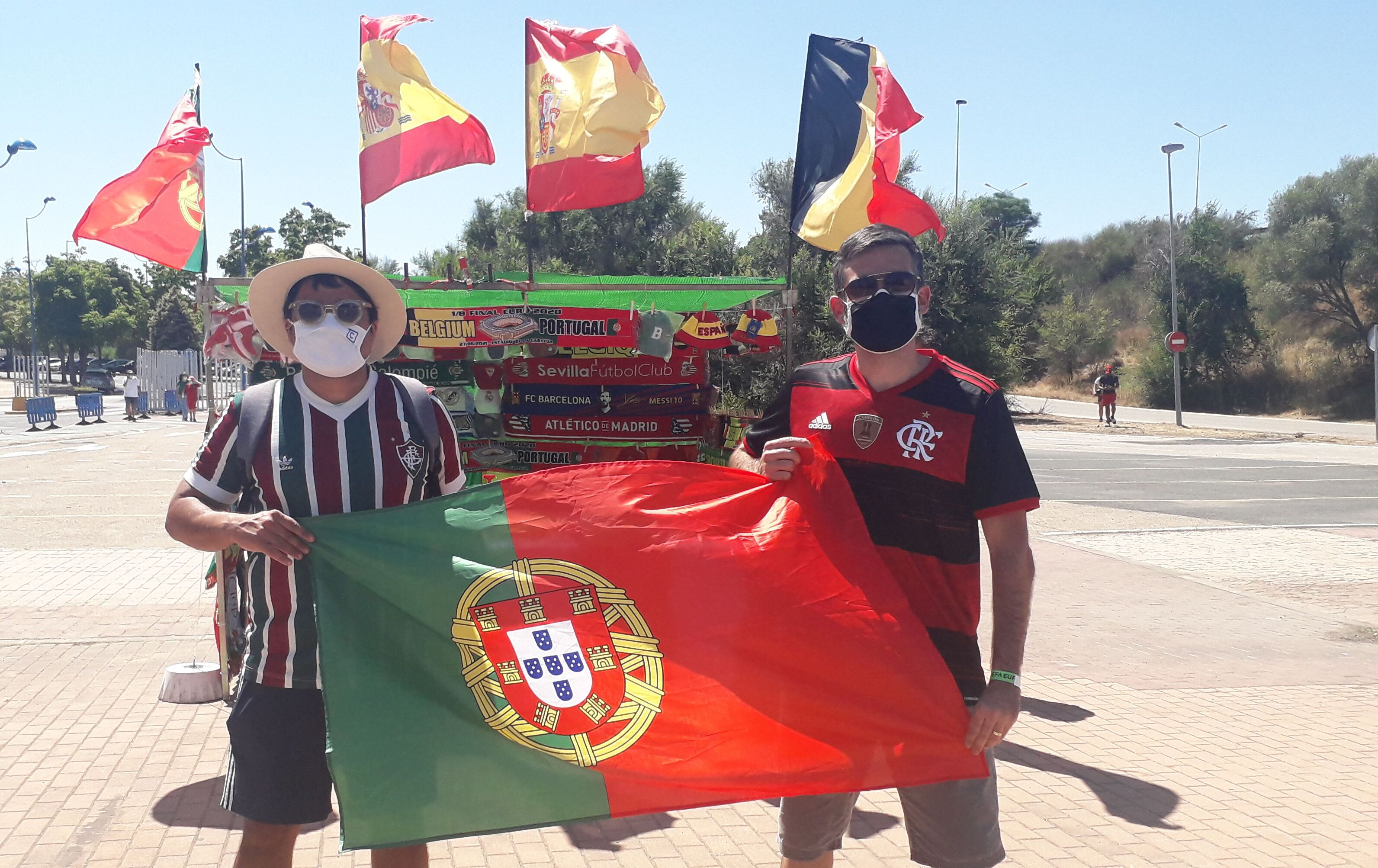O tricolor Eduardo Greppe e o flamenguista Tiago Barros: unidos por Portugal