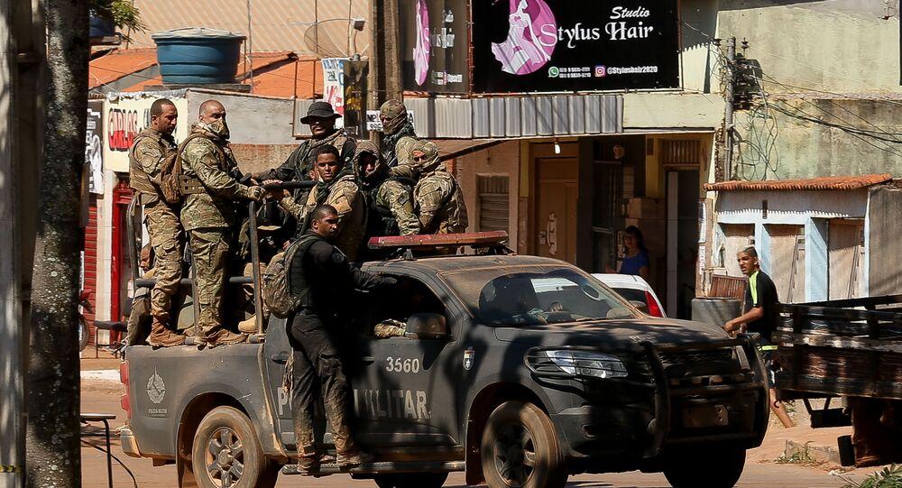 Policiais militares fazem buscas em fazendas na zona rural de Girassol, distrito de Cocalzinho de Goiás, para capturar o assassino Lázaro Barbosa
