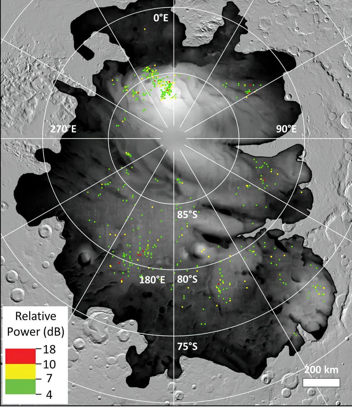 Os pontos coloridos representam locais onde a sonda Mars Express da ESA detectou reflexos brilhantes na calota polar sul de Marte