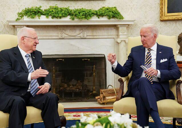 Presidente dos EUA Joe Biden durante reunião com presidente israelense Reuven Rivlin na Casa Branca, 28 de junho de 2021