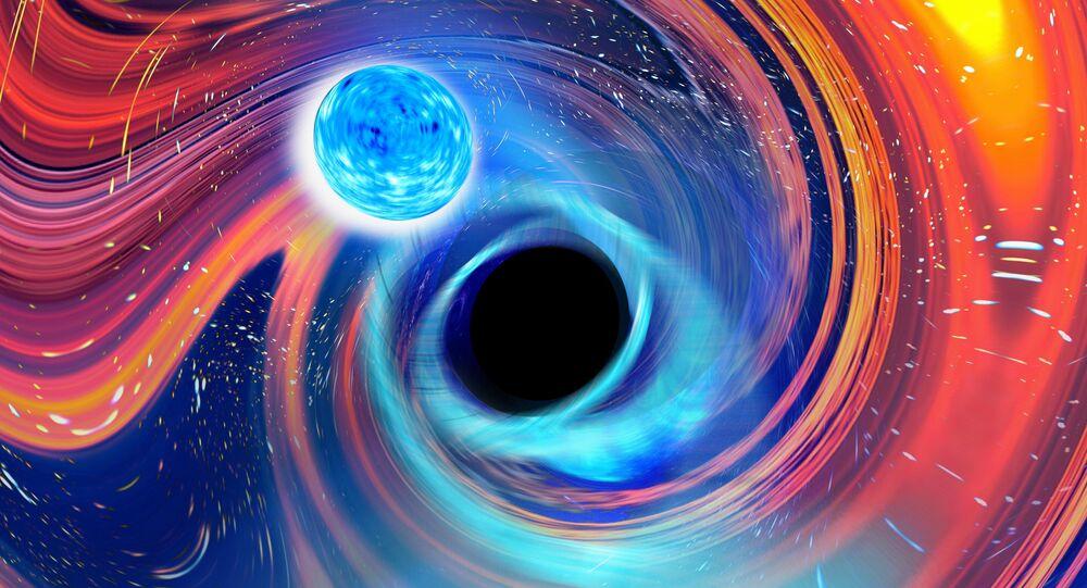 Uma imagem artística inspirada em um evento de fusão de estrela de nêutrons em buraco negro