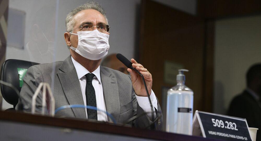 Senador Renan Caalheiros na CPI da Covid, Brasília, 25 de junho de 2021