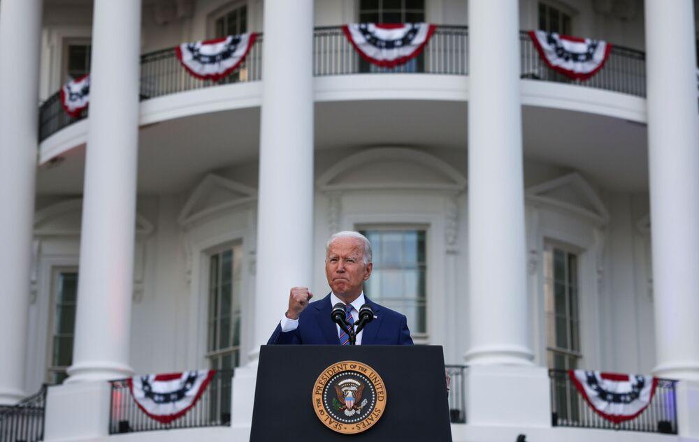 Presidente Joe Biden faz comentários na Casa Branca durante a comemoração do Dia da Independência dos EUA, 4 de julho de 2021