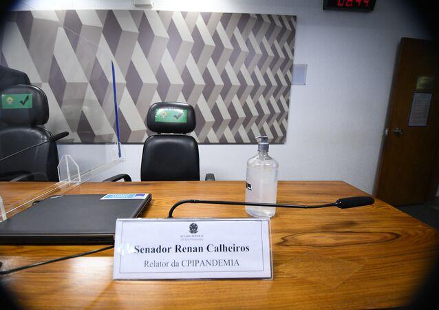 Mesa do relator da CPI, senador Renan Calheiros, Brasília, 6 de julho de 2021