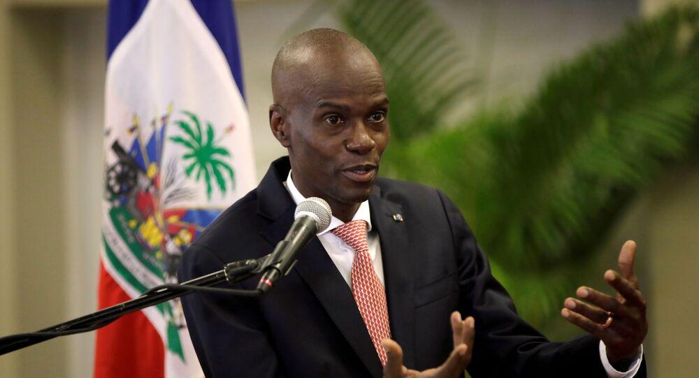Presidente do Haiti, Jovenel Moïse, fala durante coletiva de imprensa no Palácio Nacional em Porto Príncipe, capital do país, 2 de março de 2020