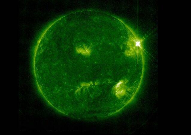 Imagem do Sol captada pelo telescópio Atmospheric Imaging Assembly