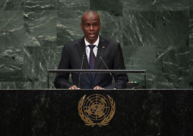 Jovenel Moïse, presidente do Haiti, discursa na 73ª sessão da Assembleia Geral nas Nações Unidas em Nova York, EUA, em 2018. Foto de arquivo