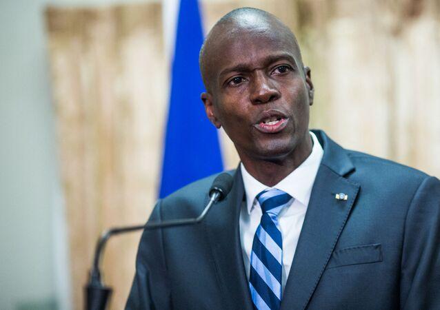 Ex-presidente haitiano Jovenel Moïse fala em cerimônia no Palácio Nacional em Porto Príncipe, Haiti. Foto de arquivo