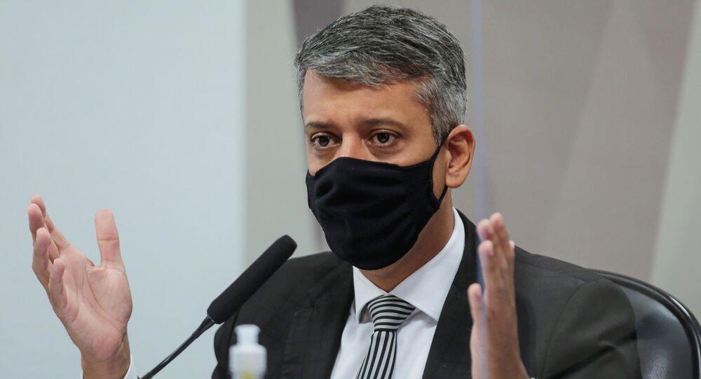 Roberto Dias durante  depoimento na CPI da Covid no Senado Federal em Brasília (DF), nesta quarta-feira (7)