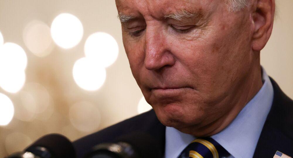 Presidente dos EUA Joe Biden anunciando a nova data do fim da missão militar americana no Afeganistão, Casa Branca, Washington, 8 de julho de 2021