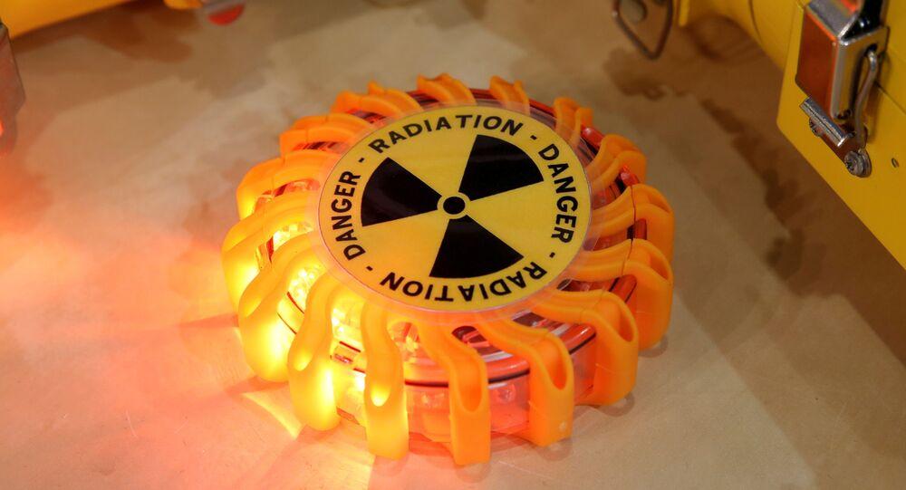 Símbolo de radioatividade na Exposição Nuclear Mundial, França, 26 de julho de 2018