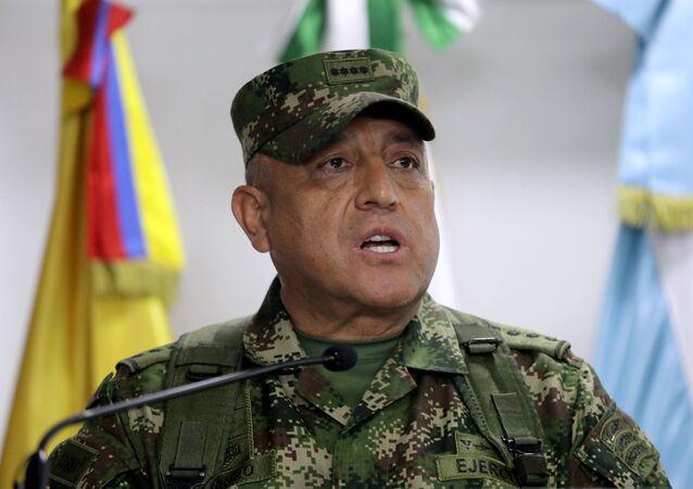 General Luis Fernando Navarro, comandante das Forças Militares da Colômbia, fala durante coletiva de imprensa sobre a participação de colombianos do assassinato de Jovenel Moïse, presidente do Haiti, em Bogotá, Colômbia, 9 de julho de 2021