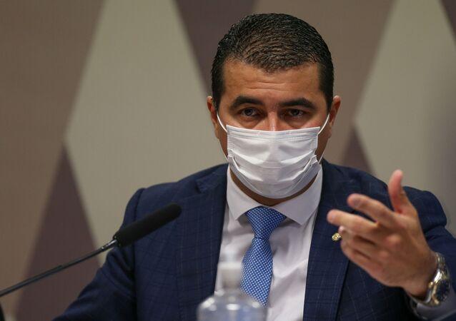 Deputado federal Luis Miranda (DEM-DF) em depoimento à CPI da Covid. Foto de arquivo