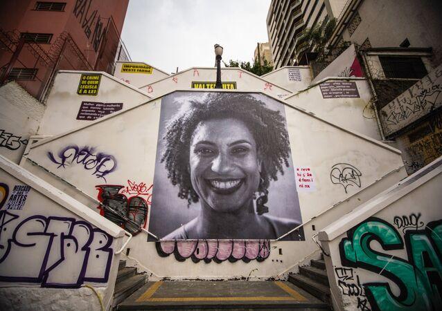 Homenagem no escadão da rua Cardeal Arco Verde, no bairro de Pinheiros, São Paulo, para a vereadora do Rio de Janeiro Marielle Franco,  assassinada em 2018