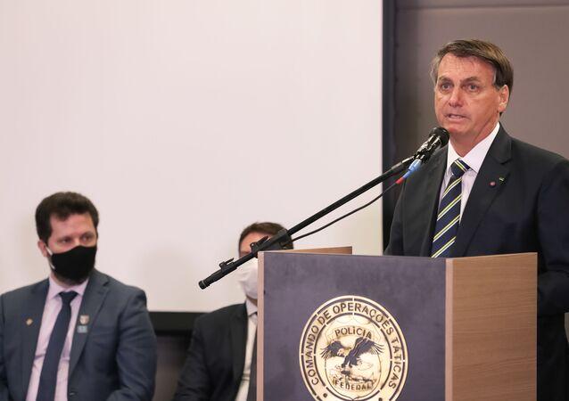 O presidente da República Jair Bolsonaro, durante solenidade de abertura da semana nacional de políticas sobre drogas, 22 de junho de 2020