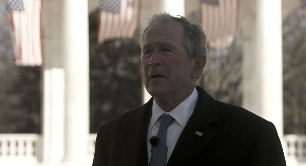 In this image from video, former President George W. Bush speaks during a Celebrating America concert on Wednesday, Jan. 20, 2021, part of the 59th Inauguration Day events for President Joe Biden sworn in as the 46th president of the United States.