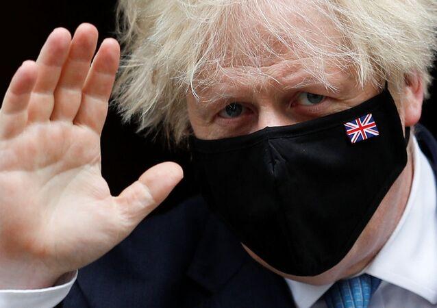 Primeiro-ministro do Reino Unido, Boris Johnson, em Downing Street, Londres, 14 de julho de 2021