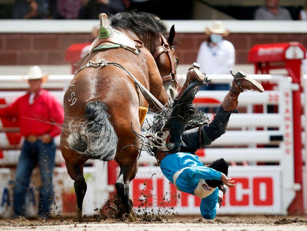 Prova de montaria sem sela durante um rodeo em Calgary, no Canadá