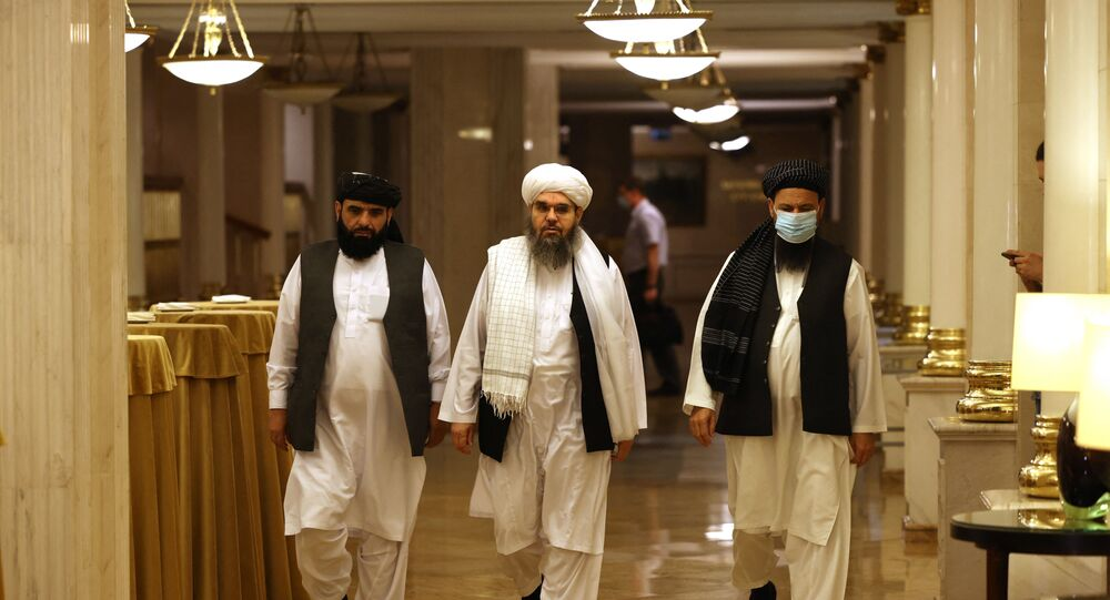 Líderes do movimento talibã participam da conferência em Moscou, Rússia, em 9 de julho de 2021