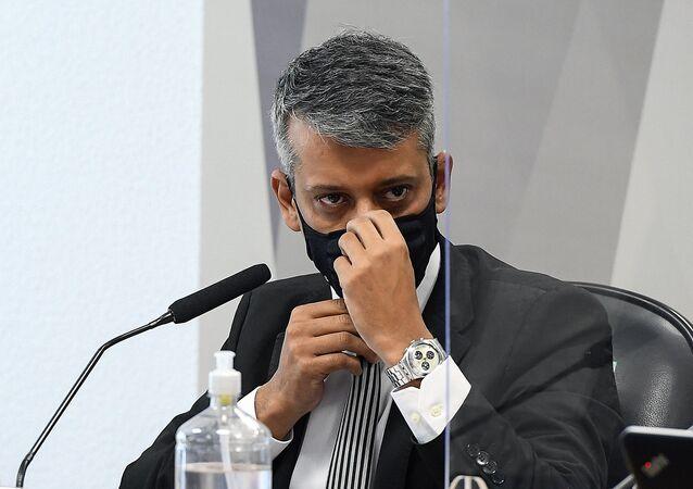 Ex-diretor do Departamento de Logística do Ministério da Saúde, Roberto Ferreira Dias, durante depoimento à CPI, Brasília, 7 de julho de 2021