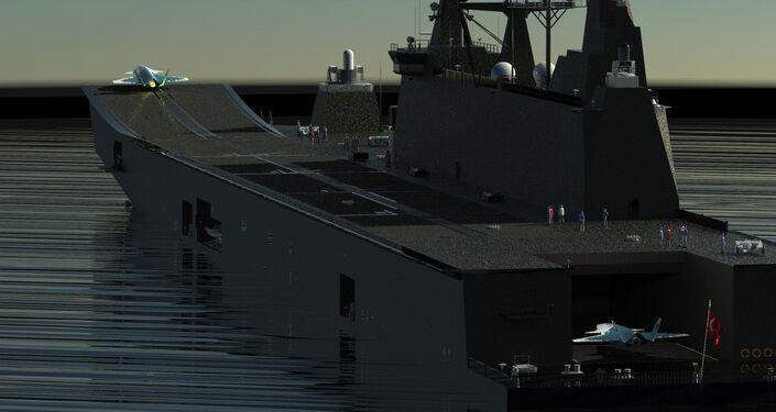 Caça com Sistema Aéreo de Combate não Tripulado da fabricante turca Baykar decolando de  navio de assalto anfíbio turco, TCG Anadolu
