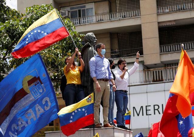 Líder da oposição venezuelana Juan Guaidó durante celebrações da independência da Venezuela, Caracas, 5 de julho de 2021