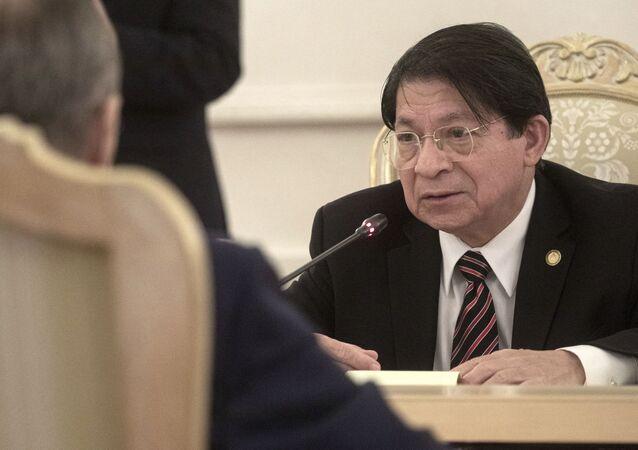 Ministro das Relações Exteriores da Nicarágua, Denis Moncada, conversa com seu homólogo russo durante reunião em Moscou em 19 de julho de 2021
