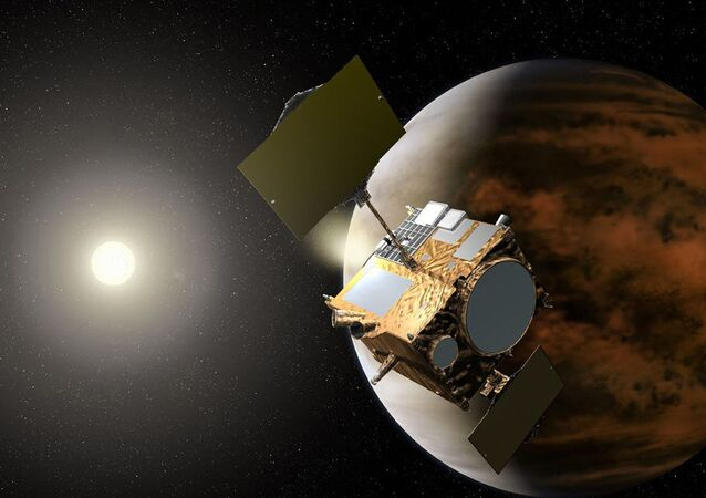 Ilustração mostra a sonda Akatsuki orbitando Vênus. Foto de arquivo