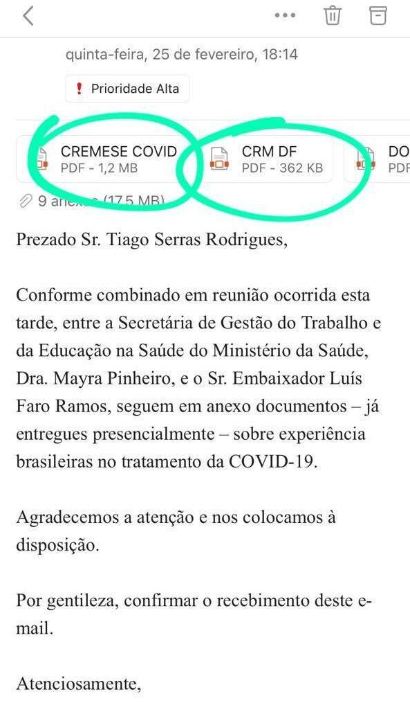 Cópia do e-mail enviado após a reunião entre a secretária Mayra Pinheiro e Luís Faro Ramos, embaixador  de Portugal no Brasil