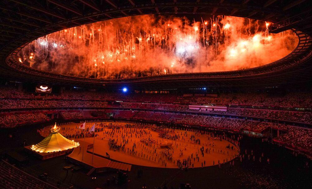 Cerimônia de abertura da 32ª edição dos Jogos Olímpicos de Verão em Tóquio, no Japão