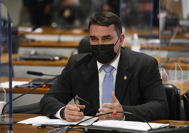 Senador Flávio Bolsonaro (Patriota-RJ) durante sessão da CPI da Covid no Senado, Brasília, 9 de julho de 2021