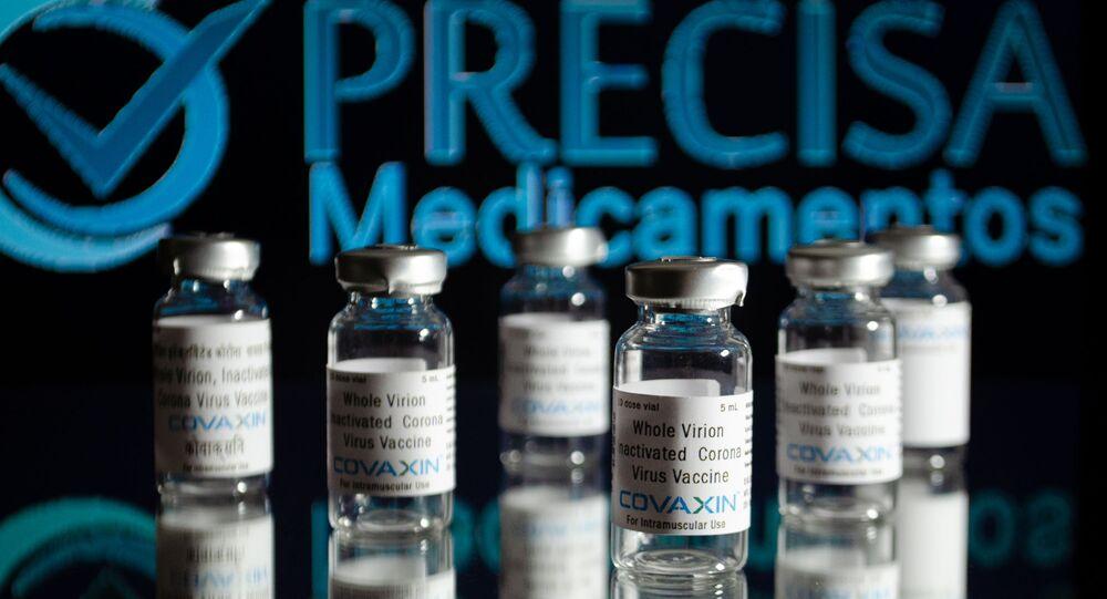 Ampolas da Covaxin com logotipo da Precisa Medicamentos
