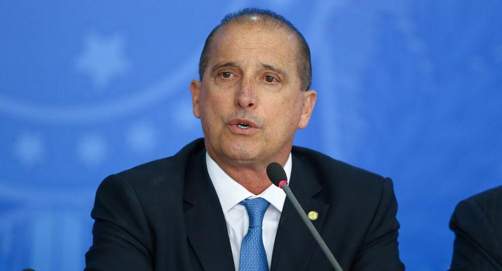 Onyx Lorenzoni (DEM-RS), durante coletiva de imprensa para apresentar um balanço do ano do governo na economia, no Palácio do Planalto, em Brasília (DF), 18 de novembro de 2019