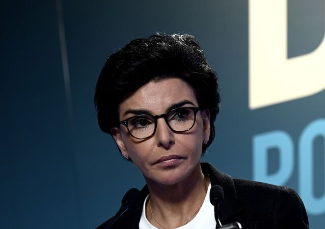 A conservadora Rachida Dati quando ainda candidata à eleição para prefeitura de Paris em março de 2020